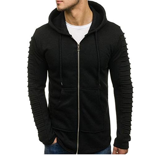 PRJN Mens Hoodiesblack Long SleeveHoodies Solid colorSweatshirtThe Pleated Mens Pullover Sweater Solid Color Pleated Long Sleeved Hoodie Mens Hoodie Long Sleeve Sweatshirt Sports Pullover