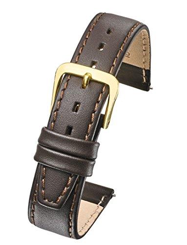 Correa de Reloj de Piel auténtica con Costuras Planas (se Adapta a tamaños de muñeca de 15 a 18 cm), Color Negro, marrón, 10 mm, 12 mm, 14 mm, 16 mm, 18 mm, 20 mm