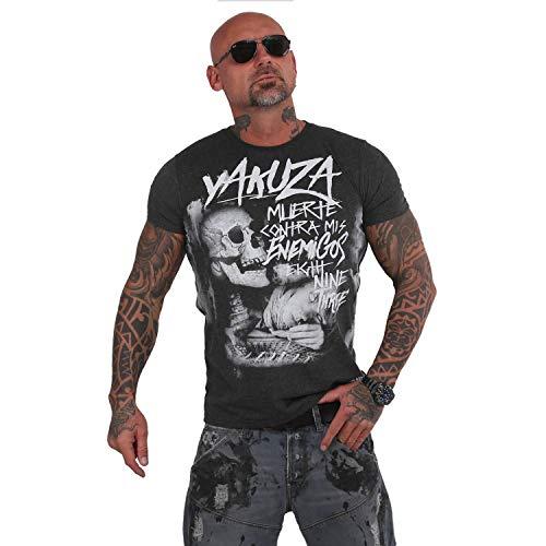 Yakuza Herren Muerte Skull T-Shirt,Dunkelgrau Meliert,M