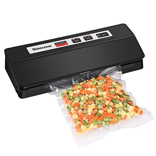 Slaouwo Vakuumiergerät, Vakuumierer für Lebensmittel, Folienschweißgerät für Sous Vide Kochen, bis zu 100 aufeinanderfolgende Siegel, 2 Vakuumrollen und Vakuumschlauch, 30cm Schweißnaht, Schwarz