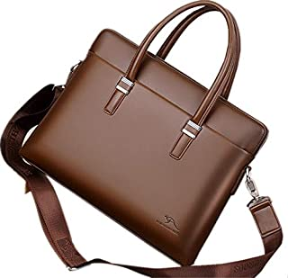 Men's Laptop Bag - 14 inch Business Leather Messenger Bag Briefcase (14 inch, Brown)