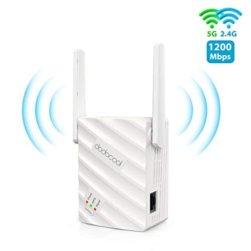 dodocool WLAN Repeater AC1200 Ultraschnelle WLAN, WLAN Verstärker bis zu 867 MBit/s 5 GHz 300 MBit/s 2,4 GHz, WiFi Extender mit Gigabit LAN-Port, AP-Modus/Repeater/Router, für Allen WLAN Geräten
