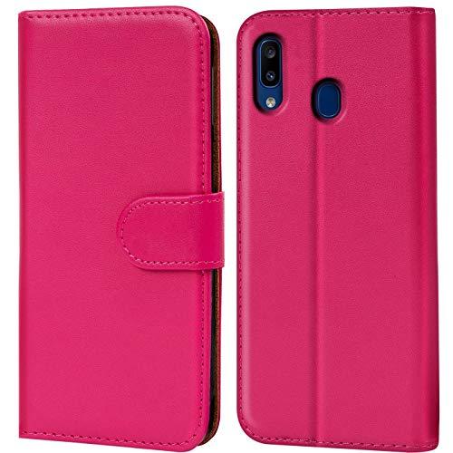 Verco kompatibel mit Samsung Galaxy A20e Hülle, Handyhülle für Galaxy A20e Tasche PU Leder Flip Hülle Brieftasche - Pink