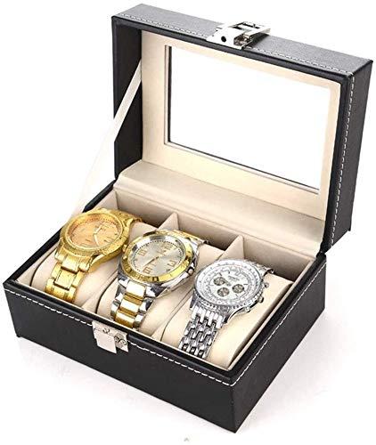 Caja de Relojes de Cuero Caja de reloj de exhibición de la joyería de almacenamiento con tapa de cristal y de eliminación de almacenamiento almohadas Negro Caja de reloj de la PU de la caja de reloj d