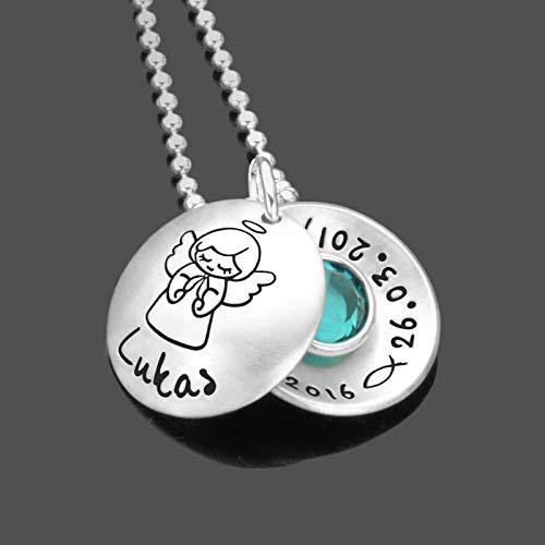Taufkette Taufgeschenk Junge Schutzengel Engel PRAY GEBURTSSTEIN 925 Silber Kette mit Gravur Taufschmuck Schutzengel