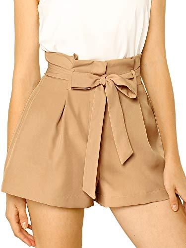 Allegra K Damen A Linie High Waist Bindegürtel Paperbag Kurze Hose Shorts Braun M