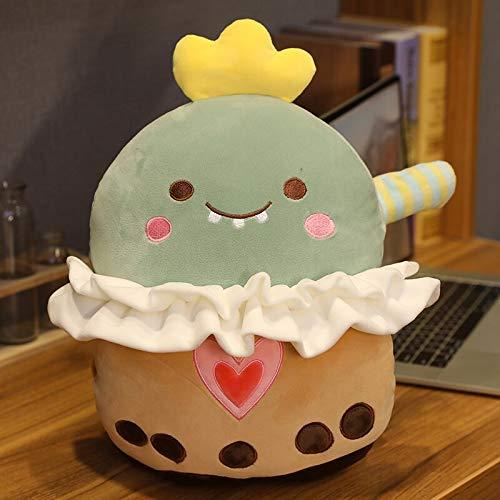 hokkk Cute Animals Bubble Tea Cup Almohada de Juguete de Felpa Dinosaurio Relleno Conejo Cerdo Oso marrón Shiba Inu Perro Muñeca Calentador de Manos con Manta Almohada de Dinosaurio