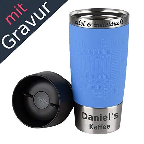 Emsa Isolierbecher Kaffeebecher 360 ml Wasserblau + Lasergravur
