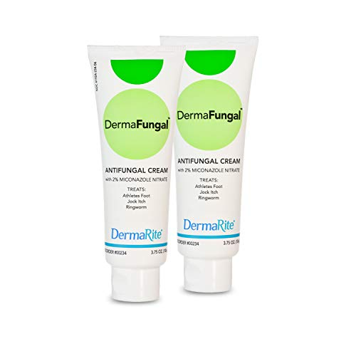 Athlete's Foot Antifungal Cream, 2 Pack - 3.75 Oz Tube - Treats Jock Itch, Ringworm and Dry Itchy Skin - 2% Miconazole Nitrate – Latex Free, Dermatologist Tested – DermaFungal by DermaRite