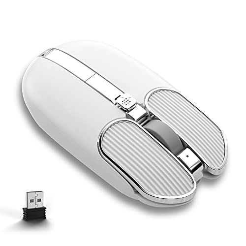 Wireless Mouse with 4 Button 2.4Ghz Connection USB Receiver Silent Click Adjustable DPI Programmable Button Ergonomic Rechargeable for Computer PC Mac Laptop Windows Tablet Office Use(White)