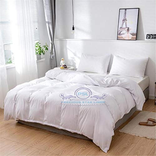 Precious Star Linen Hotel Quality 800 Thread Count Egyptian Cotton 3pc Duvet Cover Set Zipper Closer Oversized Super King Size (120' x 98') With Corner Ties (White Solid)