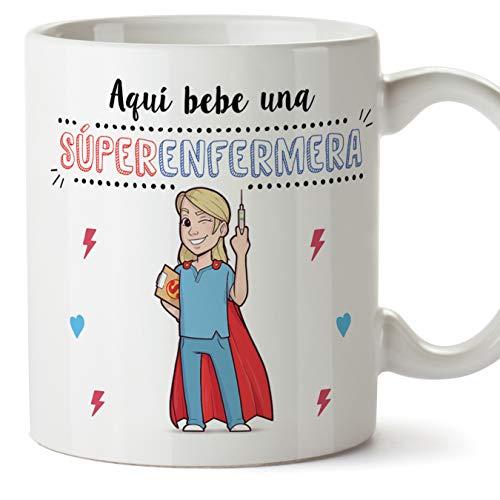 MUGFFINS Enfermera Tazas Originales de café y Desayuno para Regalar a Trabajadores Profesionales - AQUÍ Bebe UNA SÚPER Enfermera - Cerámica 350 ml