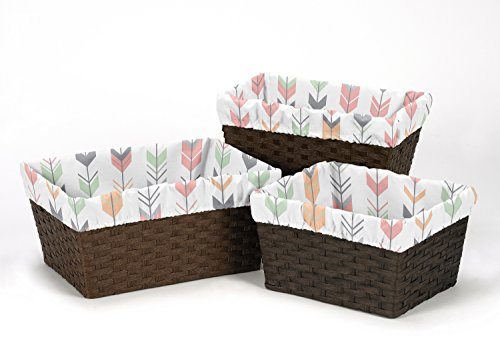 Sweet Jojo Designs 3-Piece Fits Most Basket Liners for Coral and Mint Woodland Arrow Bedding Sets