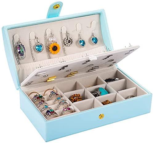 Portagioie da viaggio a doppio strato, portatile, organizer per orecchini, anelli, collane, regalo per donne e ragazze (blu-arch)