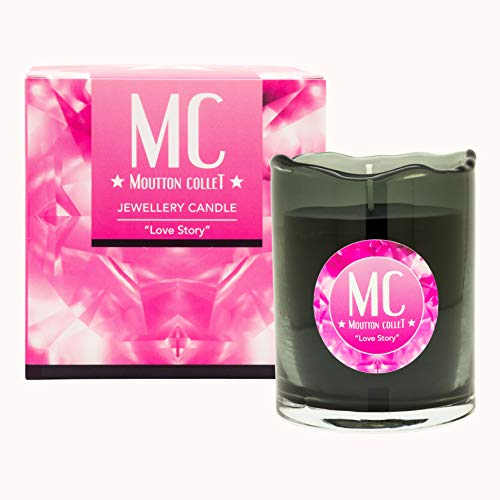 Moutton Collet – Vela perfumada con joya – Joya: pendientes de cristal Swarovski fucsia – Fragancia: Love Story – Cera natural vegetal