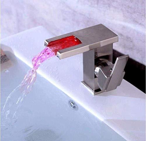 Grifos DKEE Grifo De Cascada De Cobre LED Cambio De Color Lavabo Lavabo Grifo De Agua Caliente Y Fría Hogar Baño