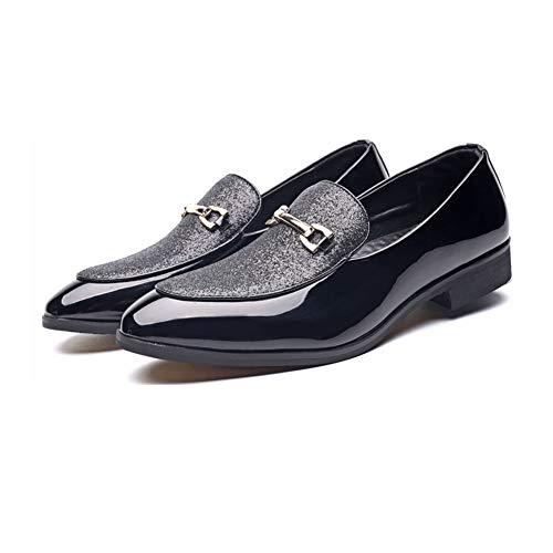 NXY Scarpe Casual da Uomo in Vernice Mocassini Stile Britannico Scivolare su Scarpe da Cerimonia con Vestito Formale Nero 42