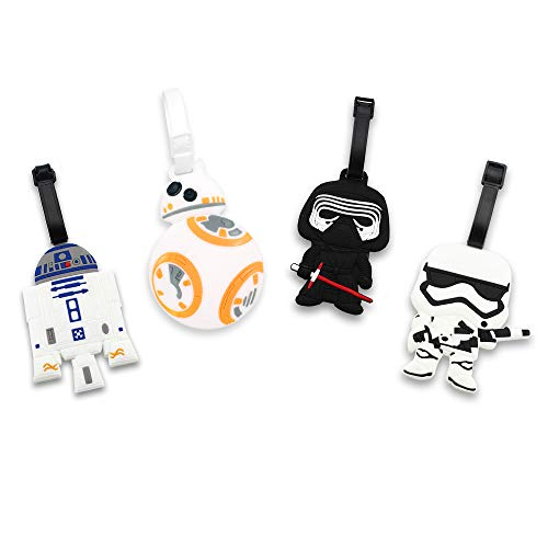 Finex 4 Pcs Set Star Wars Kylo Ren BB8 Stormtrooper R2D2 Silicone Travel Luggage Baggage Identification Labels ID Tag for Bag Suitcase Plane Cruise Ships with Belt Strap