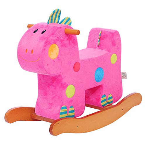 Jouet Cheval à Bascule éducation précoce Puzzle bébé siège d'enfant en Bois boîte à Chevaux Dinosaure bébé Cadeau (Couleur : Pink)