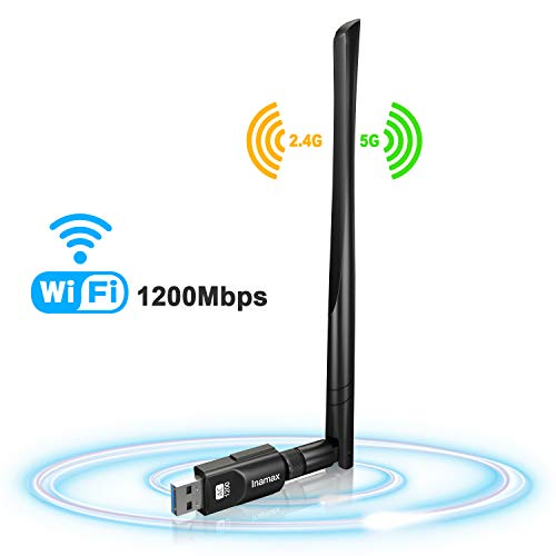 USB WiFi Adapter 1200Mbps, USB 3.0 Wireless Network WiFi Dongle with 5dBi Antenna for Desktop Laptop PC...