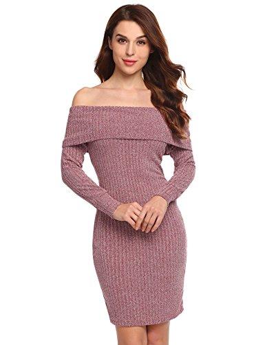 Meaneor Damen Strickkleid Carmenausschnitt Sweatkleid Langarm Kleid Longpullover Carmenpullover Strickpullover für Herbst und Winter