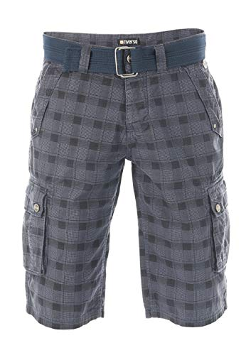 riverso - Pantaloncini Cargo da Uomo RIVAnton, con Cintura, 100% Cotone, Blu, Grigio, Verde Oliva, Nero, Beige, a Quadretti w30 - w46 Washed Indigo Blue Black (19300). 34W