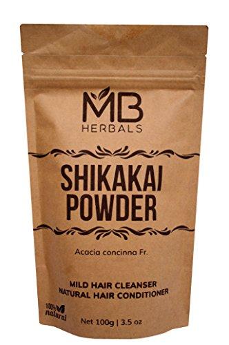 MB Herbals Pure Shikakai Powder 100g / 3.5 Oz - 100% Pure - Organically Grown Acacia concinna Fruit Pods Powder - Natural Hair Cleanser & Conditioner