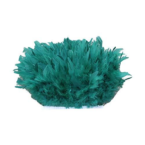 Selene - Franja de recorte de plumas naturales de calidad de 43 colores para confección de vestidos artesanales de sombrerería (# 28-Esmeralda)