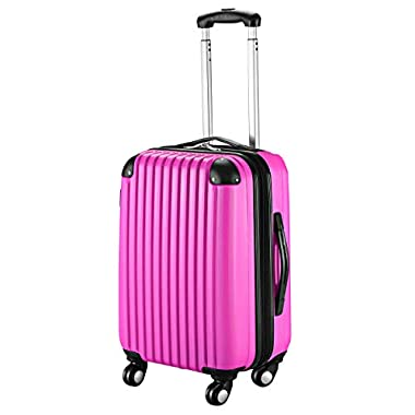 Goplus 20  ABS Carry On Luggage Expandable Hardside Travel Bag Trolley Rolling Suitcase GLOBALWAY (Pink)