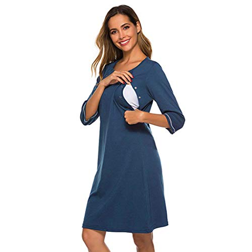 Best Prices! Gallity Maternity Women's Maternity 3/4 Sleeve Side Ruched Button Knee Length Dress, Ro...