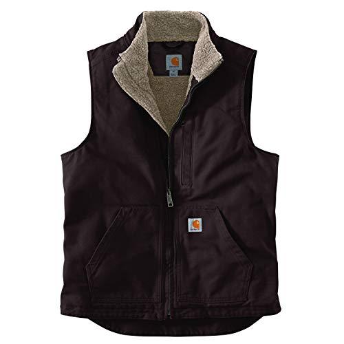 Carhartt Men's Sherpa Lined Mock-Neck Vest, Dark Brown, Large