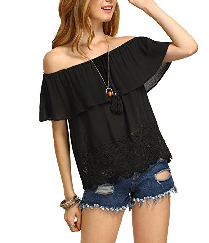 SheIn Women's Off The Shoulder Ruffle Tassel Scalloped Hem Blouse Top Medium Black
