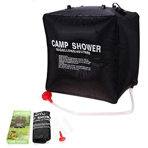 LXZH - Bolsa de ducha solar portátil para exteriores, 40 L, con manguera y cabezal de ducha para senderismo, viajes y lavado de coche, negro, L
