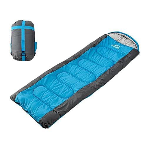 Leftroad Saco de Dormir con Saco de compresión,Saco de Dormir de Viaje portátil para Adultos-Azul (Cremallera Derecha) _1.5kg,Saco de Dormir de Camping