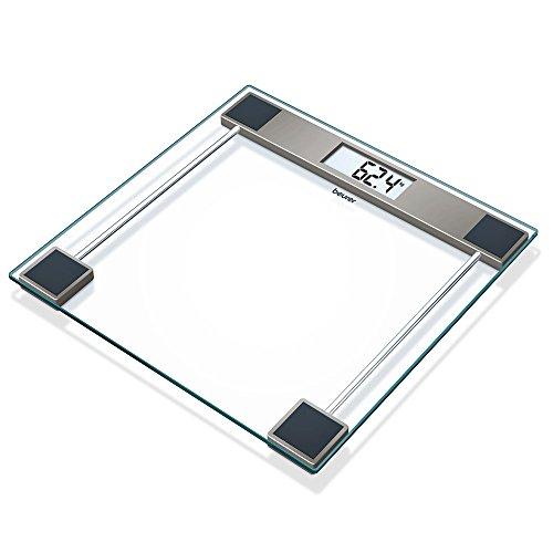 Beurer GS11 Báscula digital de baño con pantalla LCD, digitos grandes, capacidad 150 kg, plataforma vidrio, apagado automático, vidrio transparente
