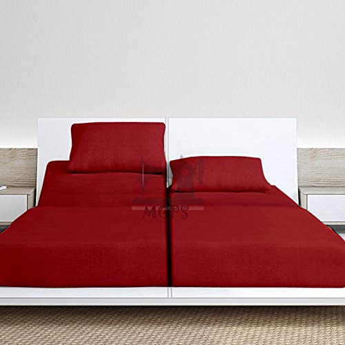 Split California-King Sheets Sets for Adjustable Bed, Soft Sateen Weave, 800-Thread-Count 100% Egyptian Cotton 5PC Set with 2 Fitted Sheets, Split-Sheet Set 15-Inch Deep Pockets - |Burgundy Solid|