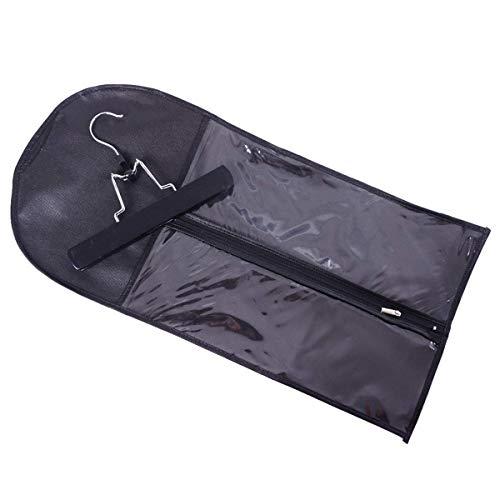Extensions de cheveux portables Stockage de transporteur Sac de tailleur non tissé W/Hanger pour cheveux de trame vierge et pince en extension de cheveux (Color : Black)