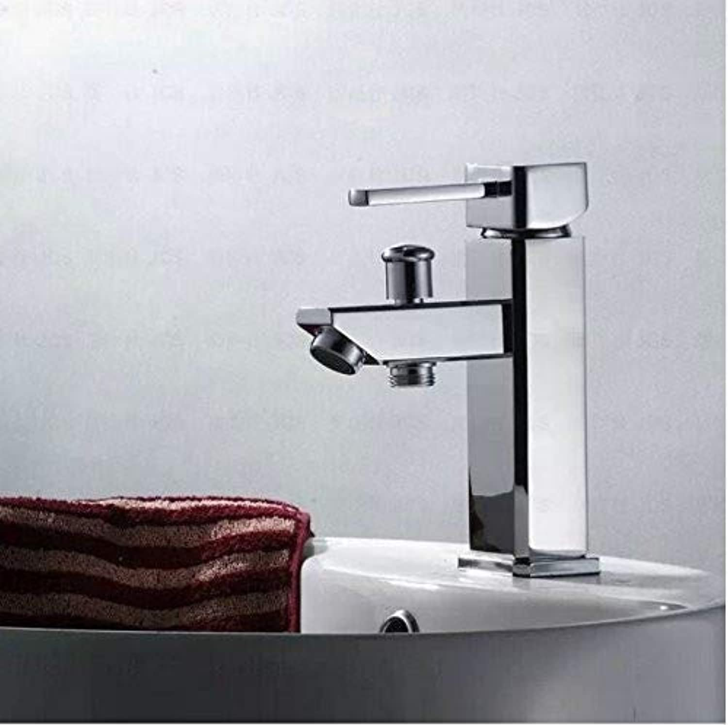 redOOY Faucet Deck Mounted Chrome Polished Finish Bathroom Faucet Basin Mixer Tap Hot And Cold Water Tap