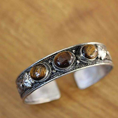 Jtivcs BR043 Vintage Tibetan Silver Tres Piedra Brazalete Pulsera Nepal Joyería Lapis Tiger Ojo Pulseras de Piedra Ansiadas en el Interior (Metal Color : Tiger Eye)