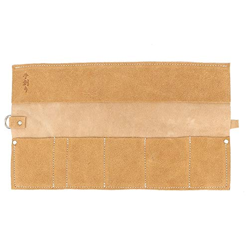 Taschen Werkzeugrolle - 5 Slots Leder Werkzeugrolle Tasche Bonsai Tools Tasche Aufbewahrungstasche Gartenreparatur Werkzeugtasche (Beige)