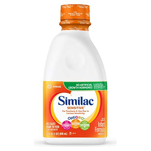 Similac Sensitive Infant Formula with Iron, Ready to Feed, 1 qt (Pack of 6)