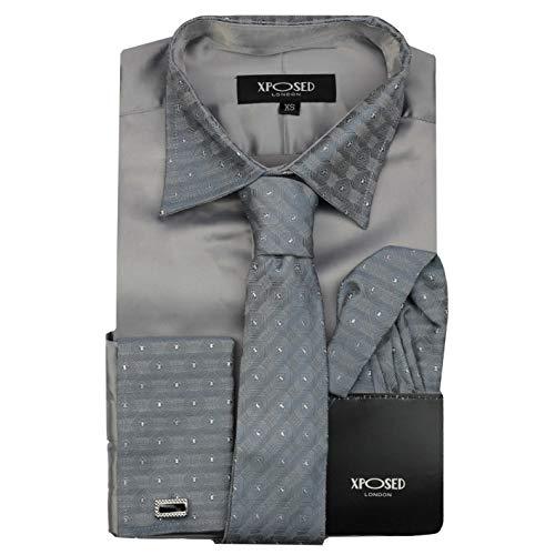 Camisa formal para hombre con cuello de borde plateado, doble puño con tacto satinado, vestido de novia, incluye corbata, pañuelo, gemelos - Gris - 3X-Large