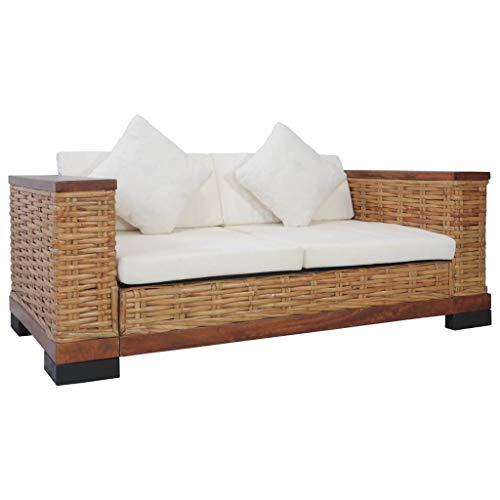 vidaXL Divano a 2 Posti con Cuscini Sfoderabili Relax Comodo Elegante Rustico Sofa Arredo Salotto in Rattan Naturale Marrone e Massello di Mango
