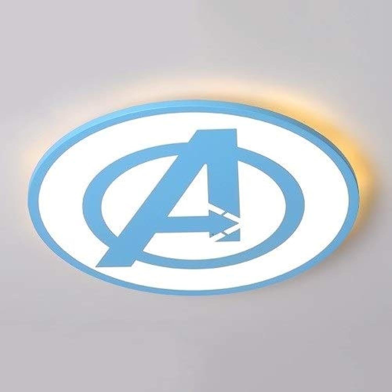 Aiqiyi LED Deckenleuchte Deckenleuchte für Jungen Mdchen Schlafzimmer Kinderzimmer Kindergarten Avengers Logo Einfache Moderne Augenlampe Kreative Karikatur Personalisierte Deckenleuchte Dreifarbige