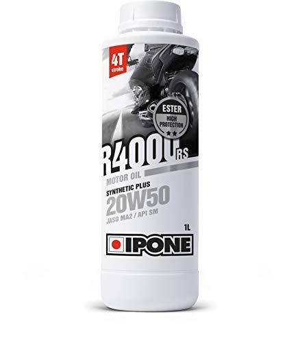 IPONE - Huile Moto 4 Temps 20W50 R4000 RS - Bidon 1 Litre - Lubrifiant Semi-Synthétique avec Esters - Haute Qualité - Résistance Exceptionnelle à l'Usure et Protection du moteur