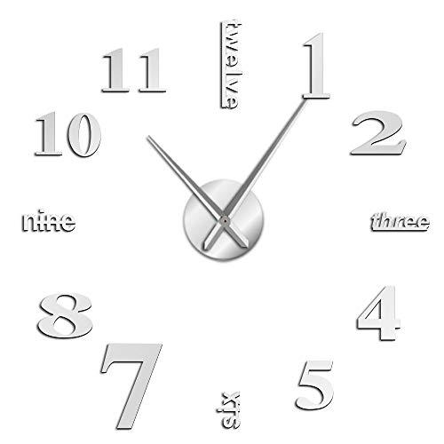 VCS Moderno DIY Mute Reloj de Pared Grande decoración del hogar Oficina 3D Superficie de Espejo Pegatina de Pared Relojes Gigante Reloj Decorativo sin Marco(Plata,120CM)