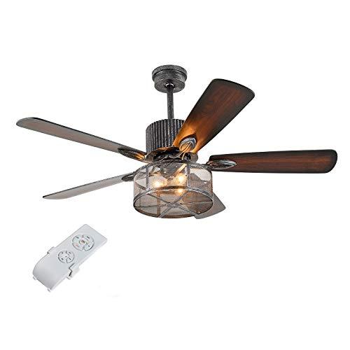 OUKANING Ventilador de techo industrial retro de 52 pulgadas con luz de 5 hojas reversibles de madera, ventilador de araña de control remoto jaula de hierro colgante ventilador de luz