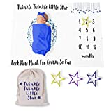 Twinkle Twinkle Little Star Baby Milestone Growth Blanket for Boy or Girl with Canvas Gift Bag and Star Markers for Progress - 60' x 40'