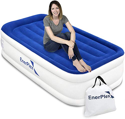 EnerPlex Twin Air Mattress for Camping, Travel & Home - Luxury, 13-Inch Double Height Inflatable Bed w  Built-in Dual Pump