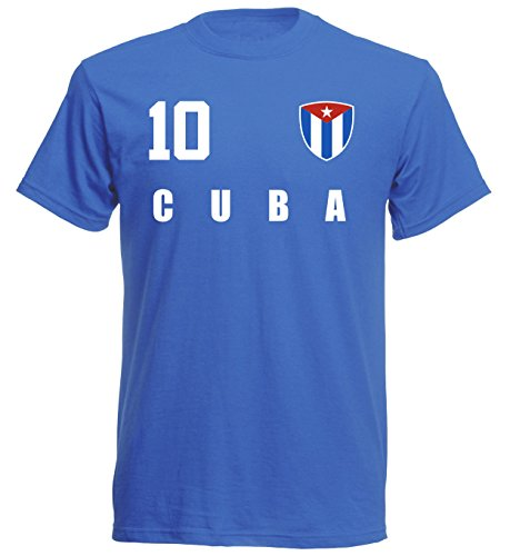 Camiseta de la selección mundial de fútbol de Kuba 2018, estilo camiseta – azul ALL-10 – S, M, L, XL, XXL azul L